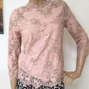 Heartloom Anthropologie Pink Lace Cotton Top S NEW